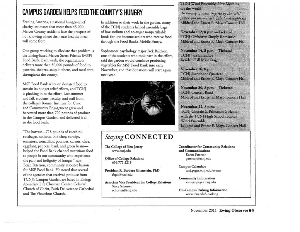 Campus Garden article in Ewing Observer